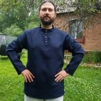 ЛЬНЯНАЯ МУЖСКАЯ РУБАШКА  РУКАВ  БЕЗ МАНЖЕТА РАЗНЫЕ ЦВЕТА